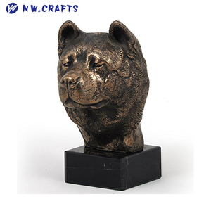 Polyresin Bronze Akita Dog Head Statue Artdog Figurines for Home Decor