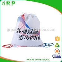China munufacture polyester printed custom printed drawstring shoe bags