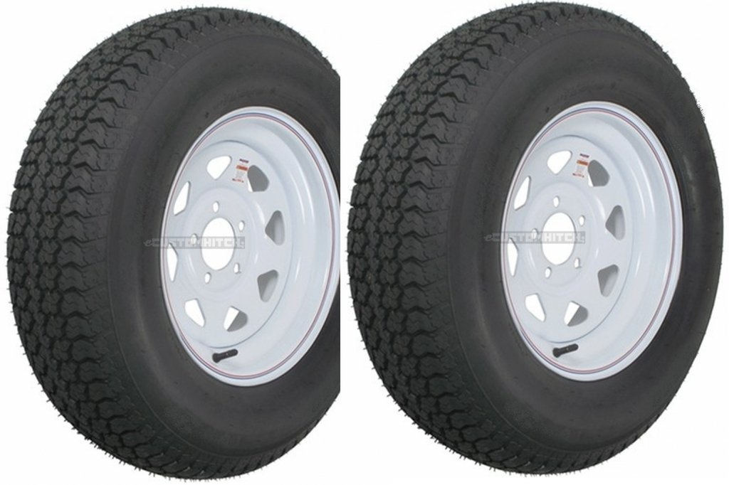 "eCustomRim 2-Pk Trailer Tire Rim ST205/75D14 14"" Load C 5 Lug White Spoke 58856"
