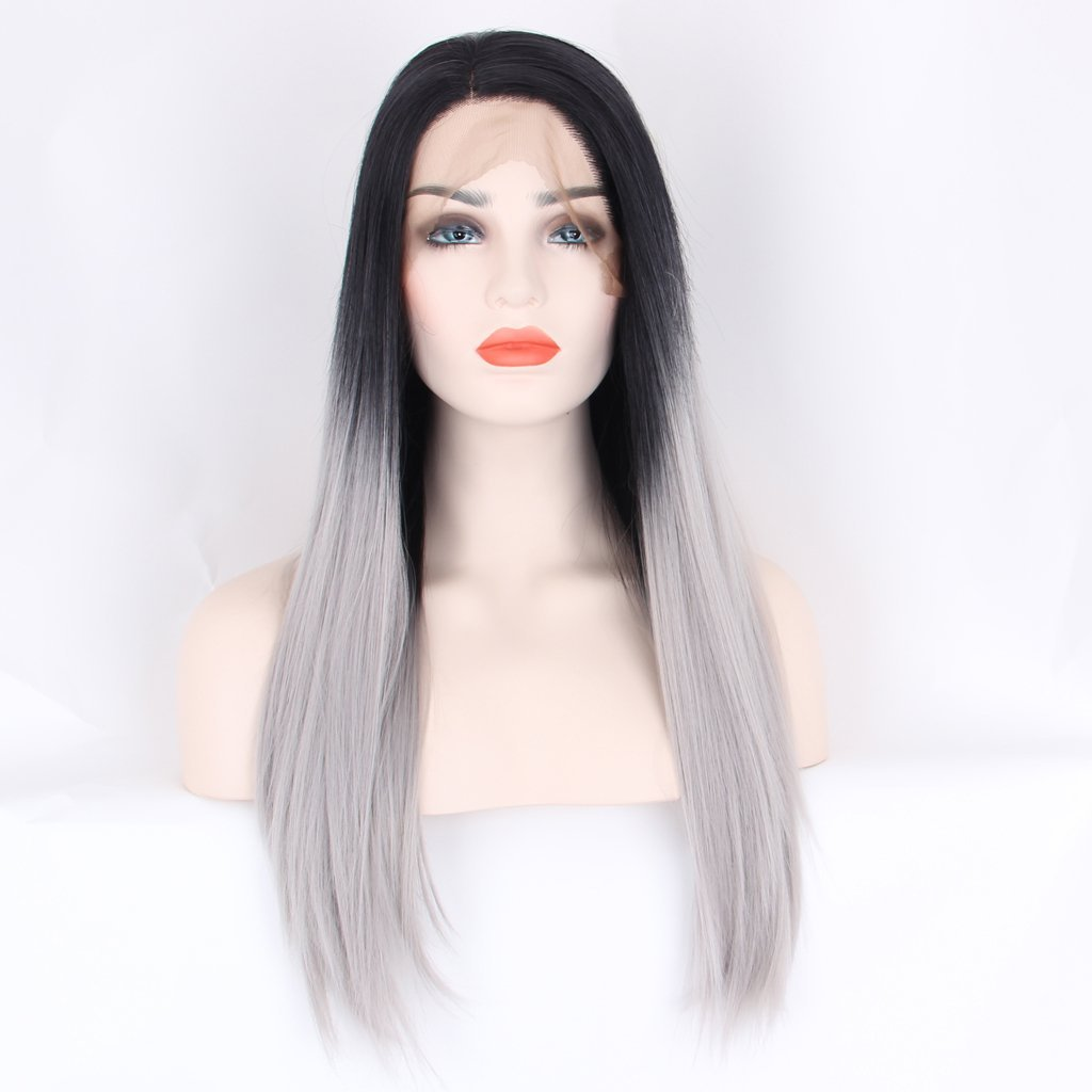 Arimika 20inch Straight Layered Ombre Silver Grey Heat Safe Synthetic Hair Lace Front Wigs Decent Parting Space Medium Brown Lace 6-8inch Black Roots