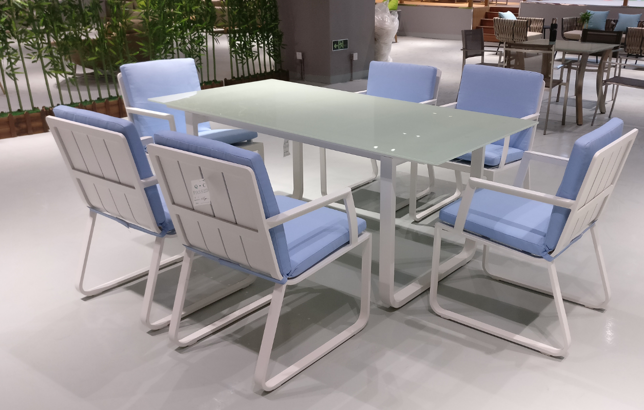 aluminum dining table set with glass waterproof cushion outdoor furniture