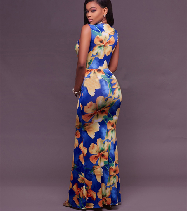 A3492 Royal-Blue Yellow Floral Beach Plunging V-Neck african traditional high split maxi dresses