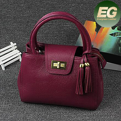 Exporters and manufacturer of bags Simple fashion tassels leather shoulder bag tote bag EMG4296