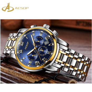 2019 top selling build up your own business luxury japan movt quartz watch diamond stainless steel Aesop watch mens casual