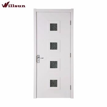 Paint White Small Glass Insert Flat Panel Wooden Interior Doors