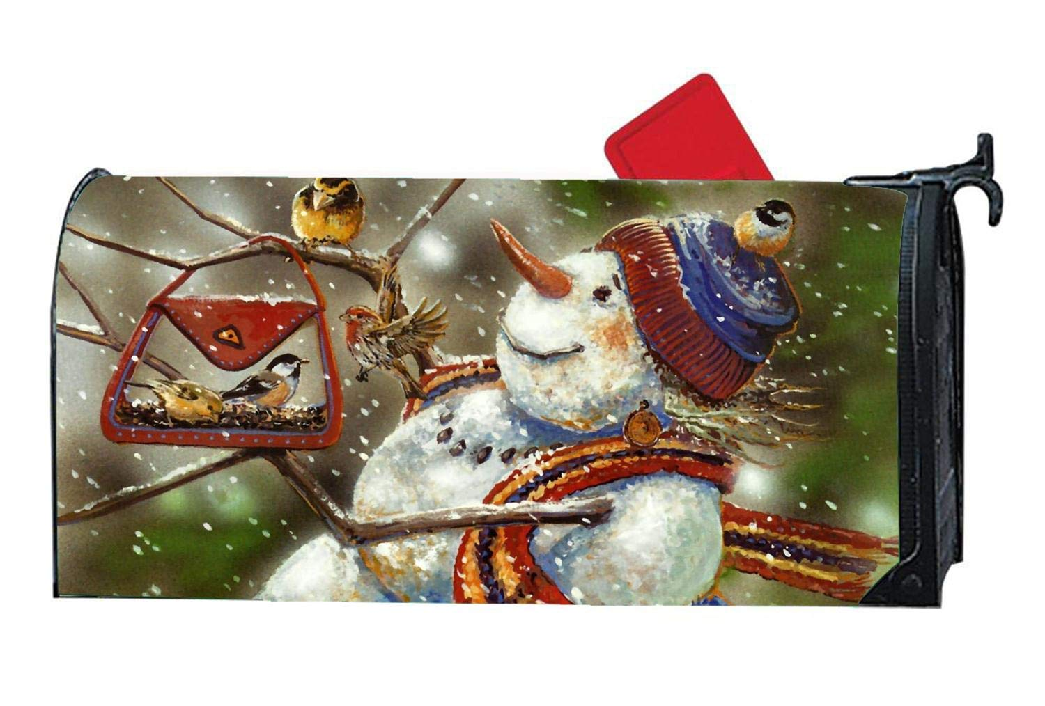 """Magnetic Mailbox Cover Standard 6.5"""" x 19"""" - Spring Winter Birds Themed, Decorative Vinyl Mailbox Wrap for Standard Size, Multicolor - Christmas Snowman Goldfinch Chickadee"""