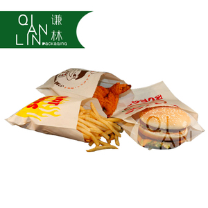 Food Grade Greaseproof Paper Bag With Customized Printing for French Fries, Burger And Sandwich