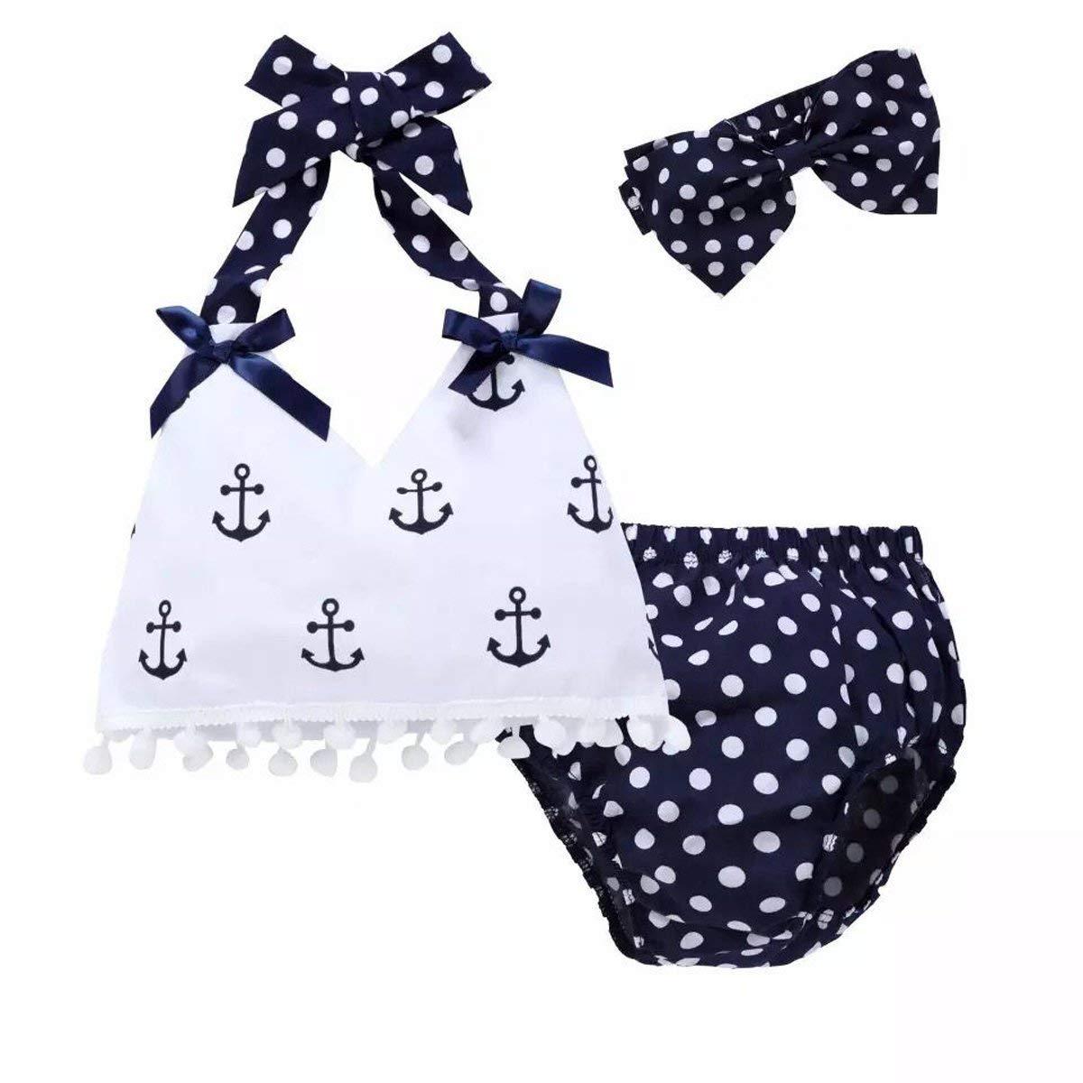 JOYEBUY 3PC Baby Girls Clothing Set Anchor Tops+Polka Dot Briefs+Headband Outfits Set Sunsuit