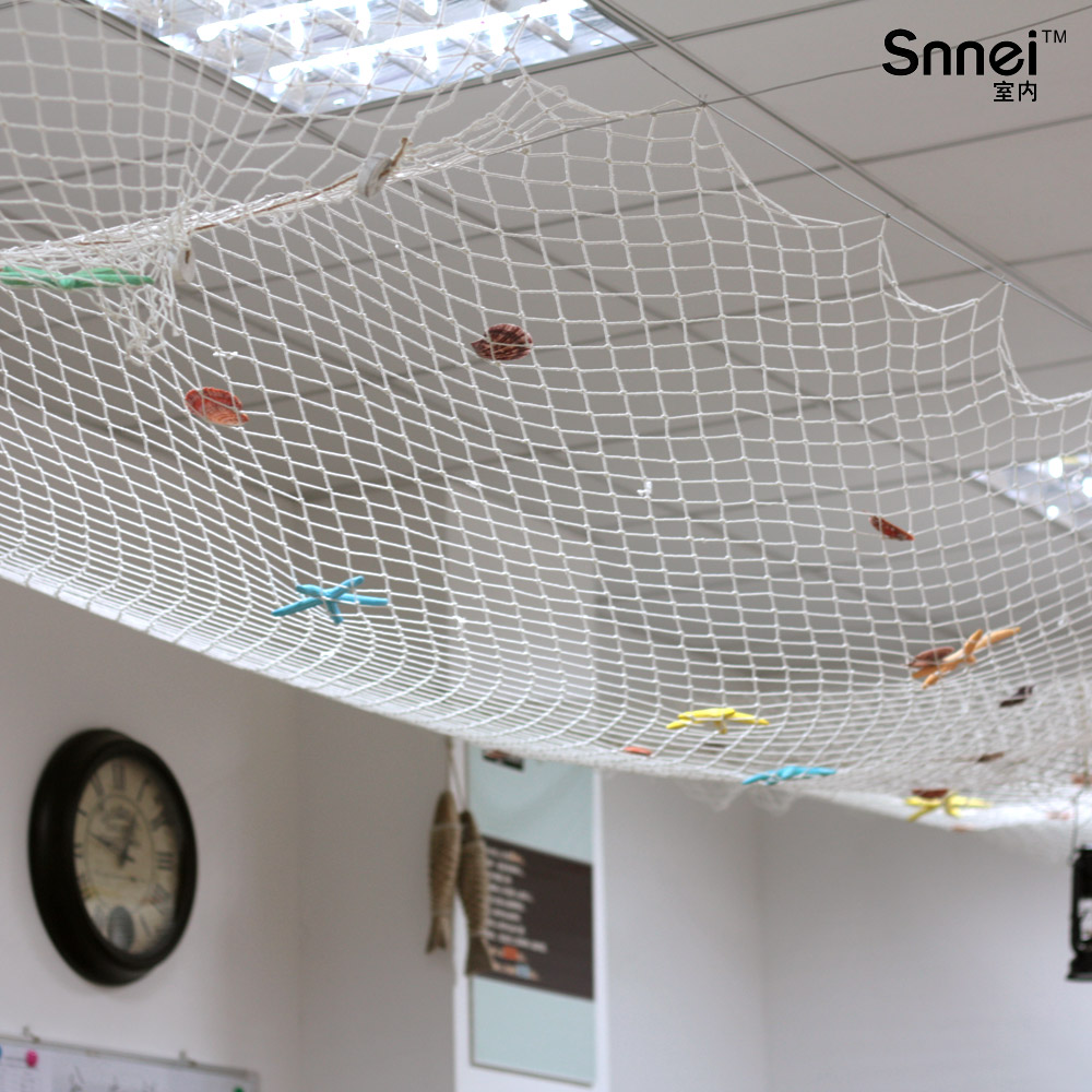 Ceiling Decoration Wall Hangings Fishing Net White Blue