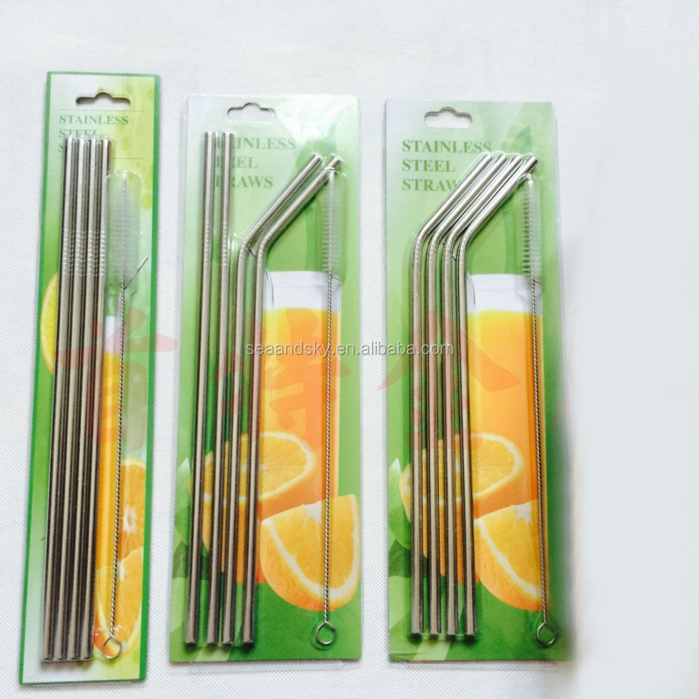 4 Pieces Stainless Steel Drinking Straws