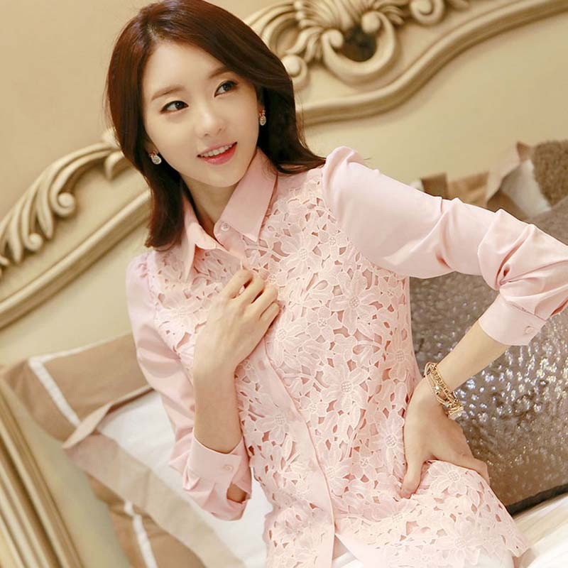 WA2097 elegant embroidery pink lace women blouses