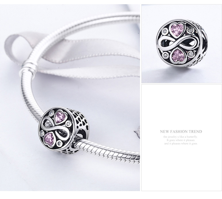 2019 Hot Selling Qings 925 Sterling Silver Endless Love Charm For Bracelet