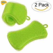 Silicone Dish Scrubber Kitchen Dish Sponge Multipurpose Washing Brush Scrubber for Wash Pot Pan Dish Bowl Fruit Vegetable