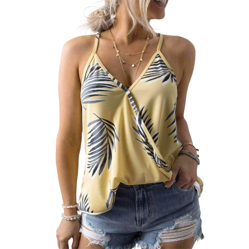 Wholesale Tropical Plant Print Tank Top Woman Casual T Shirt