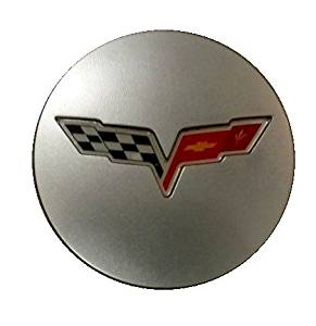 C6 Corvette 2008-2013 GM Center Caps Silver With Crossed Flag
