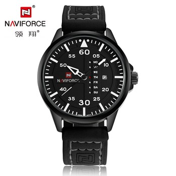 2016 New Luxury Top Brand NAVIFORCE Men Sports Watches Leather Strap Quartz Watch Auto Date Army Military Waterproof Wrist watch
