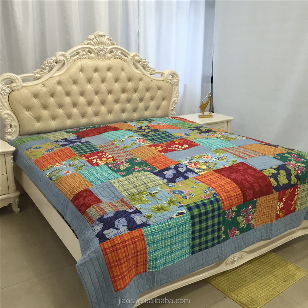 100% cotton print pieced diamond quilted bedspread with hand quilting