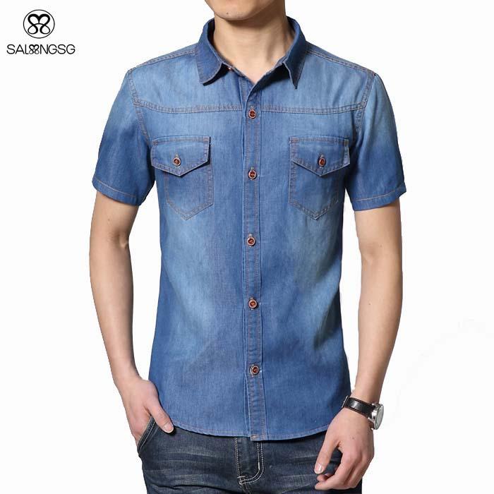 b3c9a7db65 Get Quotations · Brand Men Shirt Short Sleeve Summer 5XL Denim Slim Fit  Plus Size Men s Shirts Man Blue