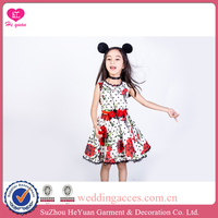 H16109 Flower Girl Dress Printed Red Roses Parttern Dots Red Hand Rolled Flower Belt 2016