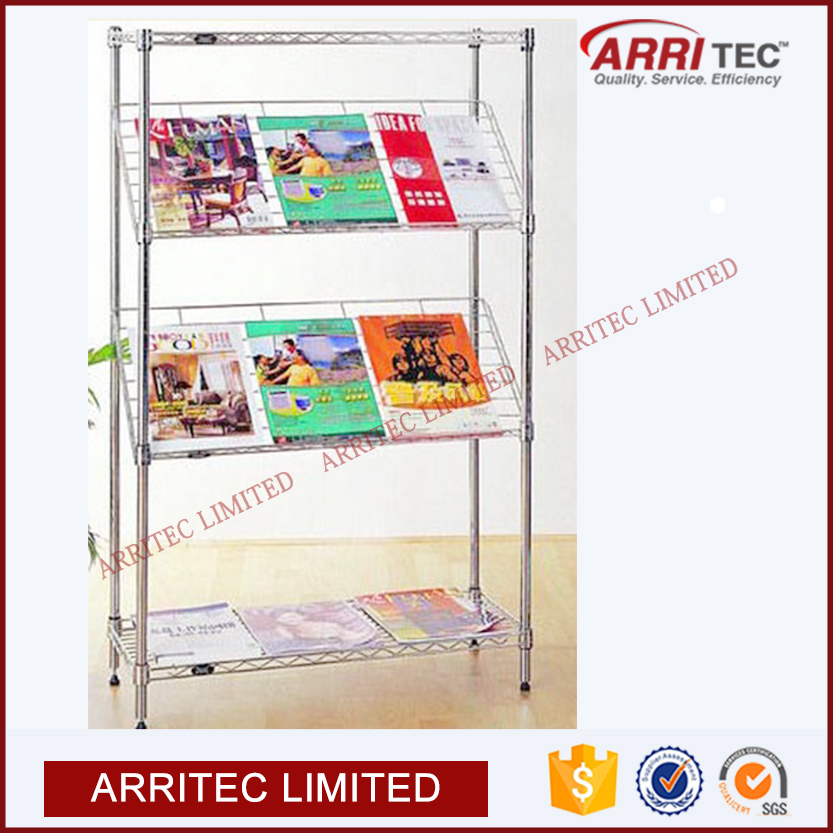 portable metal wire magzine brochure kiosk chrome/powder coating advertsing shelf floor stand