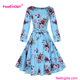 Sky Blue Long Sleeve Bangkok Autumn Dress For Woman Cinderella Dress