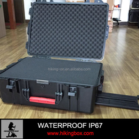 Custom hard waterproof plastic equipment tool case with wheels& handle HIKINGBOX HTC024