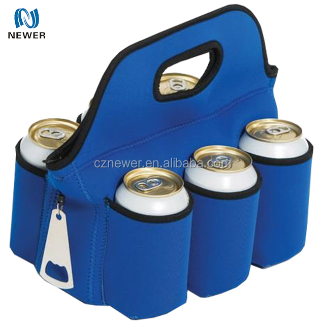 Custom multipurpose neoprene carrier for 6 pack cans lunch box and beer bottles