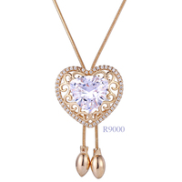 Xuping crystal statement necklace, women heart shaped gold necklace, 18k imitation jewellery diamond stone pendant necklace