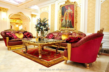 ART1101-Luxury French Baroque Style Golden Living Room Sofa Set ...