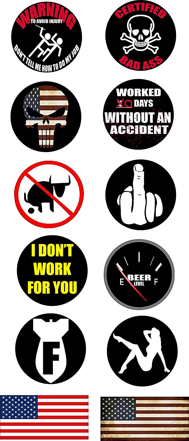 Get quotations · work hard hat helmet stickers 12pc decals toolbox best selling funny construction worker mechanic value pack