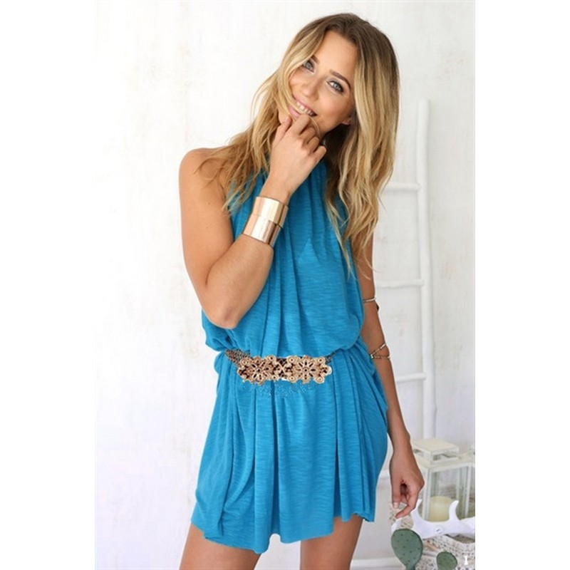 Sexy Club Dress 2015 Women Sleeveless O-Neck Loose Casual Mini Solid Sexy Strapless Dress Vestidos Verano Mujer Blue 9SJM