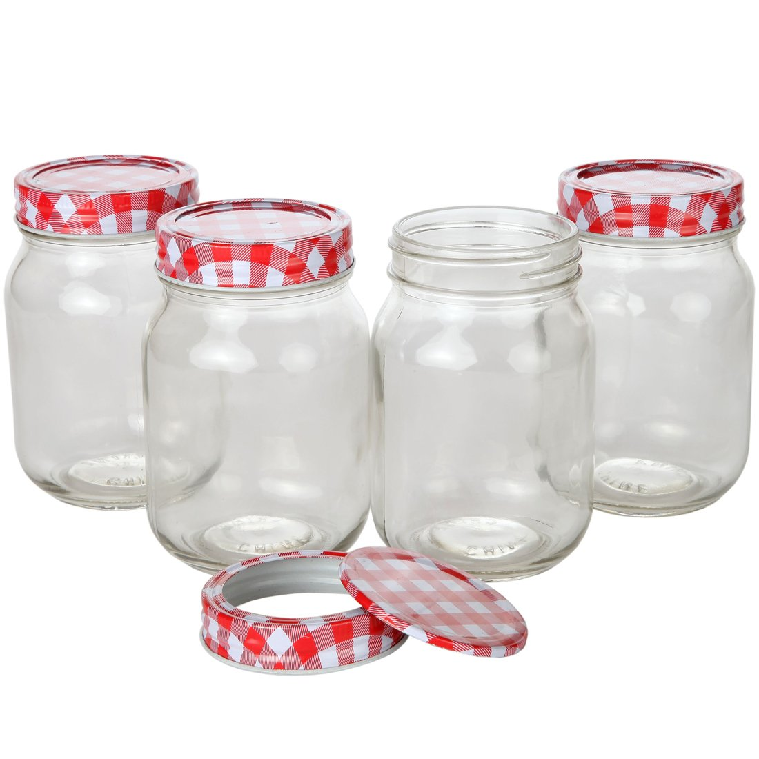 Lily's Home Classic Regular Mouth Glass Mason Jars with Checkered Lids and Bands, Use as Jelly or Storage Jars, Ideal for Homemade Sauces, Pickles, Candles, or Tea (16 oz. Capacity, Pack of 4)