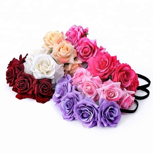 Handmade Floral Crown Rose Flower Headband Hair Garland Wedding Headpiece