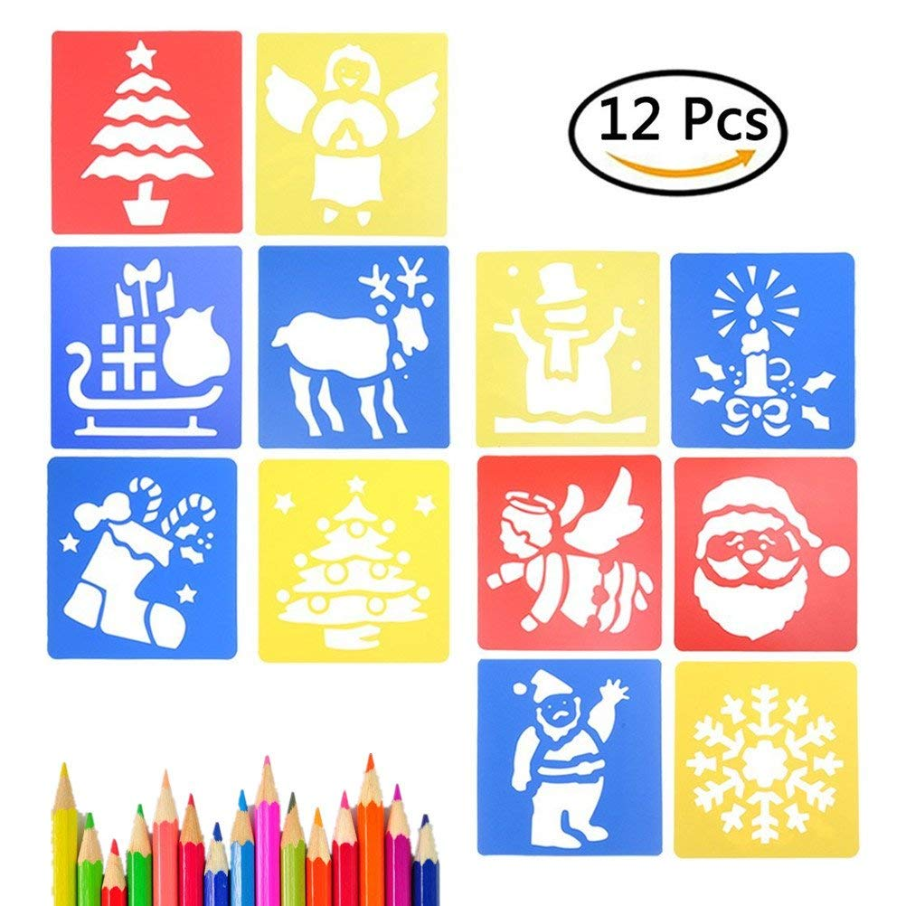 YUYUE 12 Pcs Plastic Drawing Stencils Children's Painting Template Christmas Themed Stencil for Kids Crafts