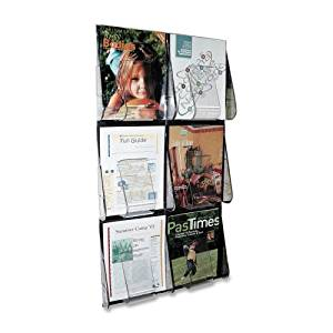 """Wholesale CASE of 2 - Deflect-O Stand-Tall Wall Literature Rack-Lit. Rack,6 Pockets,3 Row High,18-1/4""""x35-1/4""""x2-7/8"""",Clear"""
