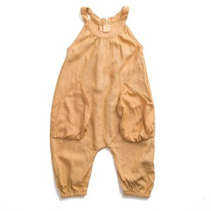 Wholesale Kids Newborn Romper Plain Linen Brick Yellow Baby Rompers Latest In 2018