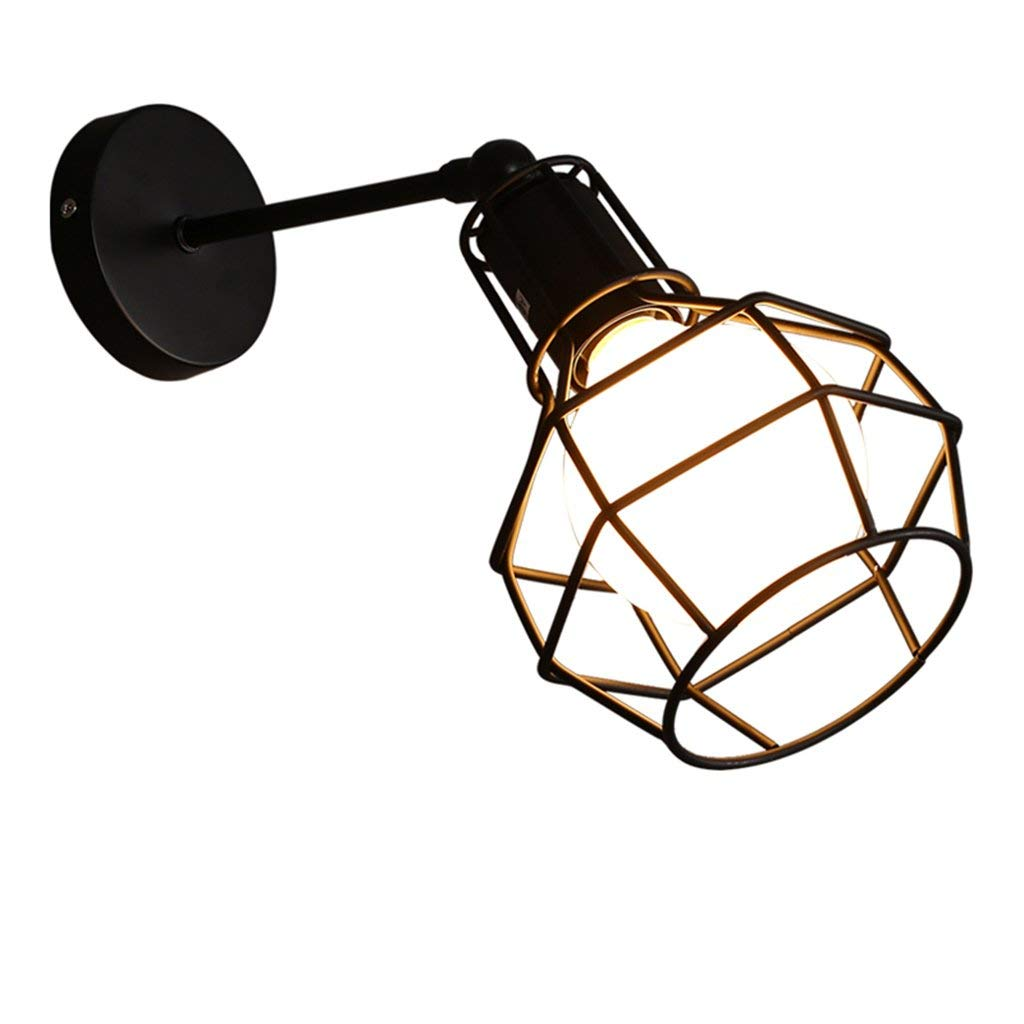 LED Wall Lamp Iron Wall Lamp Retro Wall Lamp Bar Wall Lamp Loft Bedroom Aisle Wall Lamp Lighting Fixtures ( Color : Black )