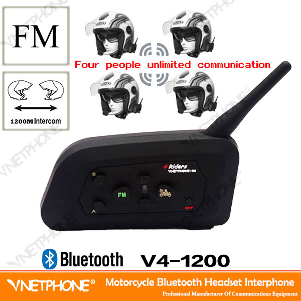 Cheap China Motorcycle Intercom!Vnetphone 4 Riders Intercom System Walkie Talkie Headset V4