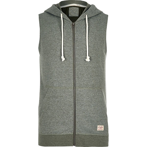 Custom Green pullover sleeveless hoodie for men