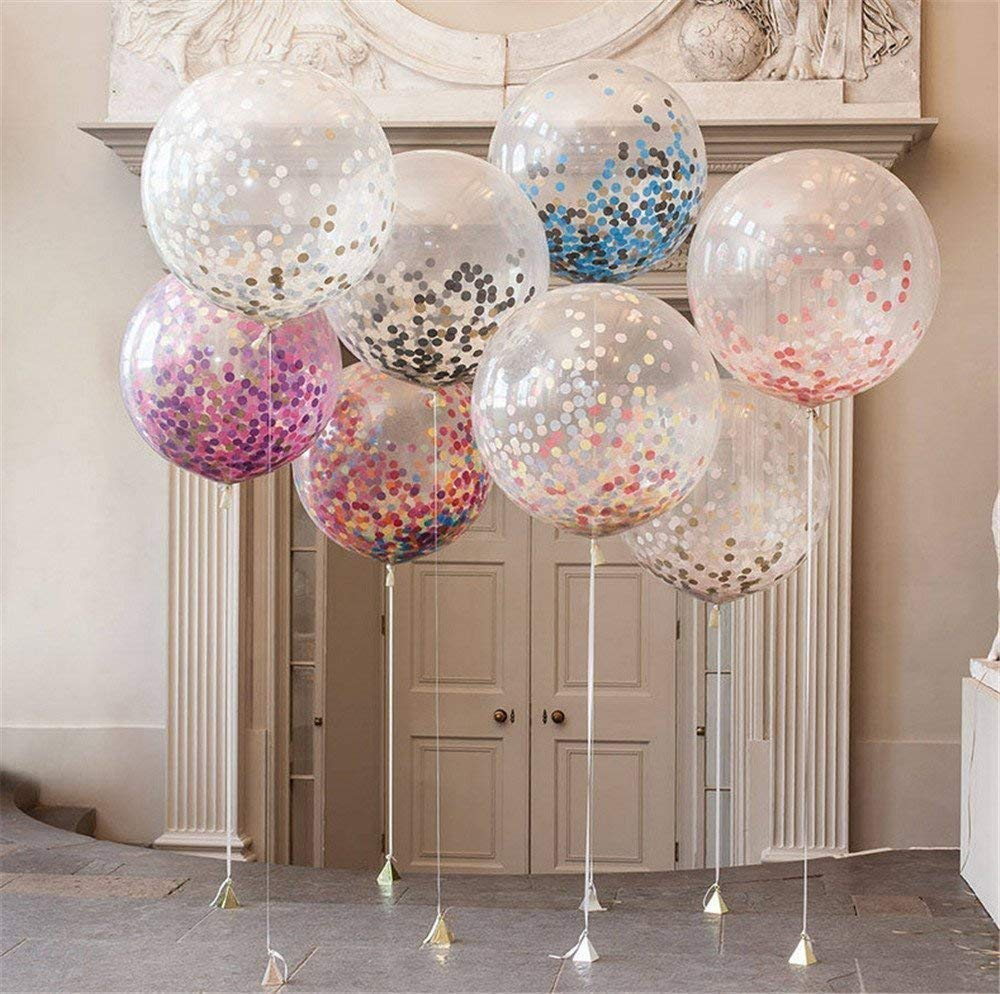 """LAttLiv Balloons 5 Pcs 36"""" Clear Confetti Lattex Helium Balloons Transparent Jumbo Balloons filled with Multicolor Confetti Decorations for Wedding, Baby Shower, Birthday Party"""