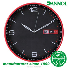 12inch relojes wall clocks wholesale plastic wall clock with day and date display/reloj