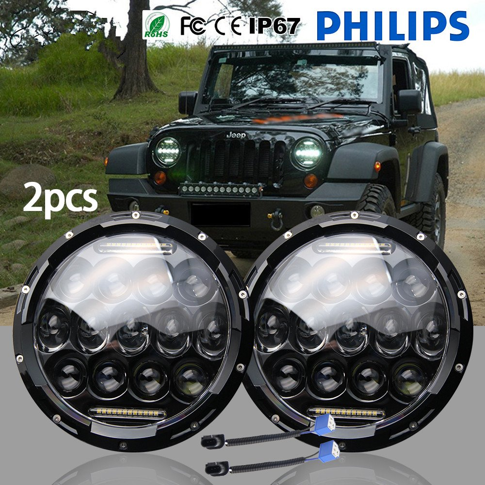 "Jiuguang 7"" LED Headlight for Harley Davidson Motorcycle Projector Daymaker with Hi/Lo Beam Round LED Headlight Kit For Jeep Wrangler JK LJ CJ Headlamp"