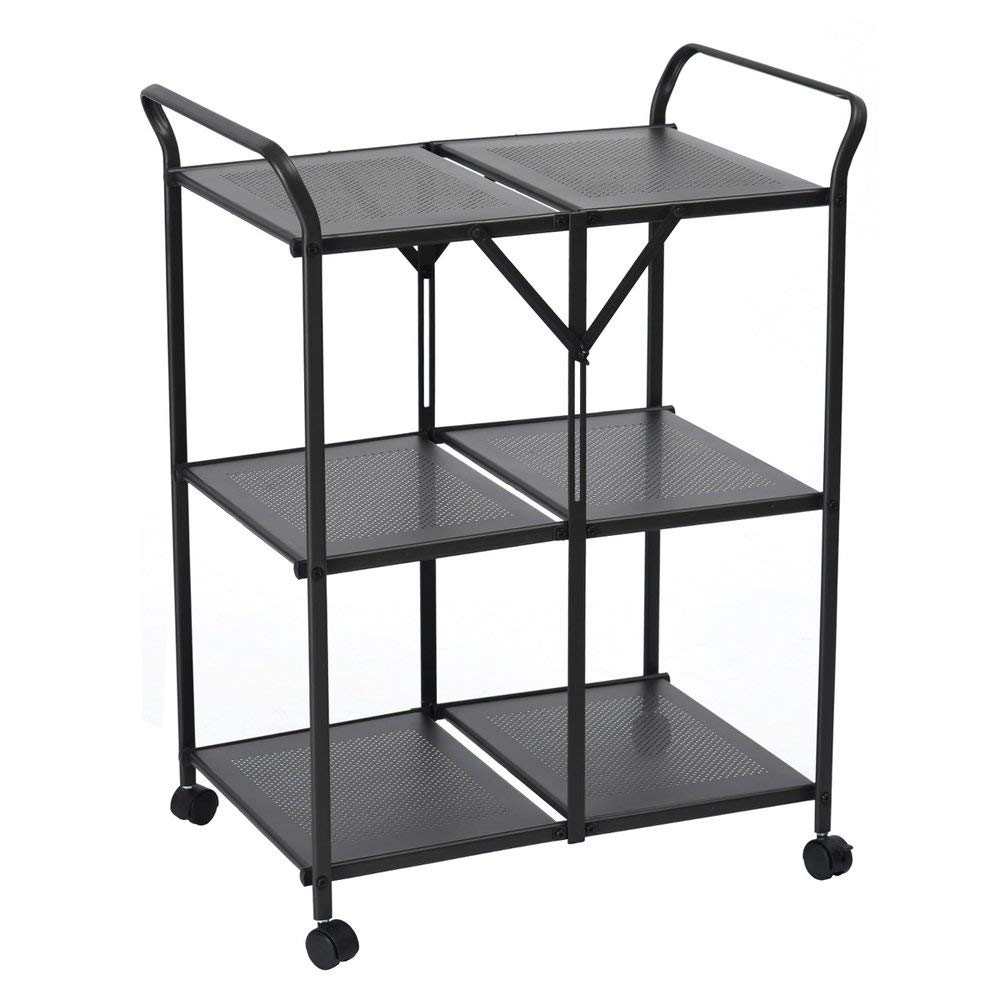 3-Tier Rolling Serving Cart Foldable Utility Kitchen Trolley Storage Space Saving Food Cart Mobile Metal Frame Indoor and Outdoor Cart, Black