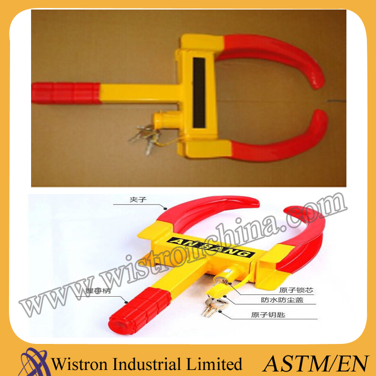 Steel Car Steering Wheel Lock Anti-theft Wheel Lock in Yellow for Cars and other Vehicles