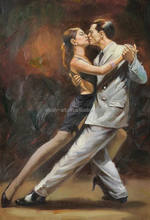 museum quality flamenco couple tango dancing oil painting