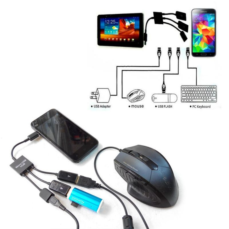 Power Charging keyboard mouse card reader 3Port Micro USB OTG Hub Host Cable Free Shipping