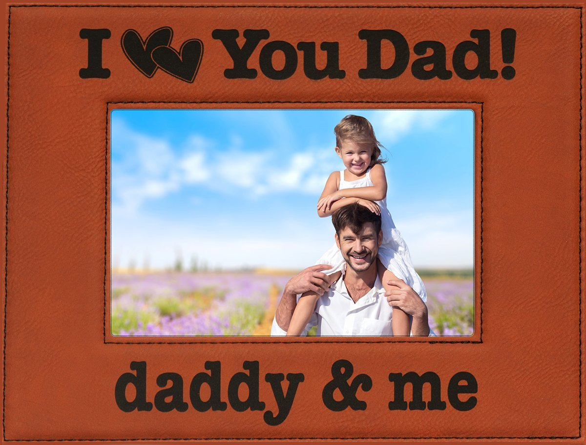 Buy Gift For Dad Engraved Leatherette Picture Frame I Love You