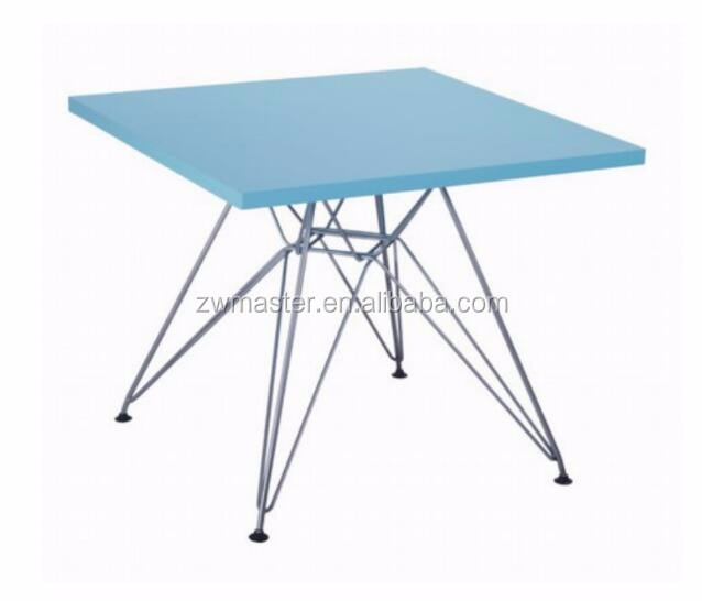 Home use children furniture high 49cm wooden top stainless steel base kids table