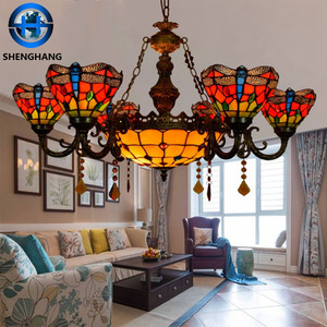 Energy saving droplight stained glass lamp shade effect pattern pendant lights hot popular tiffany lamp