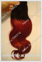 Cheap!!! Top quality brazilian ombre hair weft red two tone color in body wave virgin remy human hair weave no tangle no shed